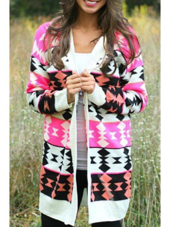trendy Geometric Pattern Long Sleeve Collarless Cardigan - RED S