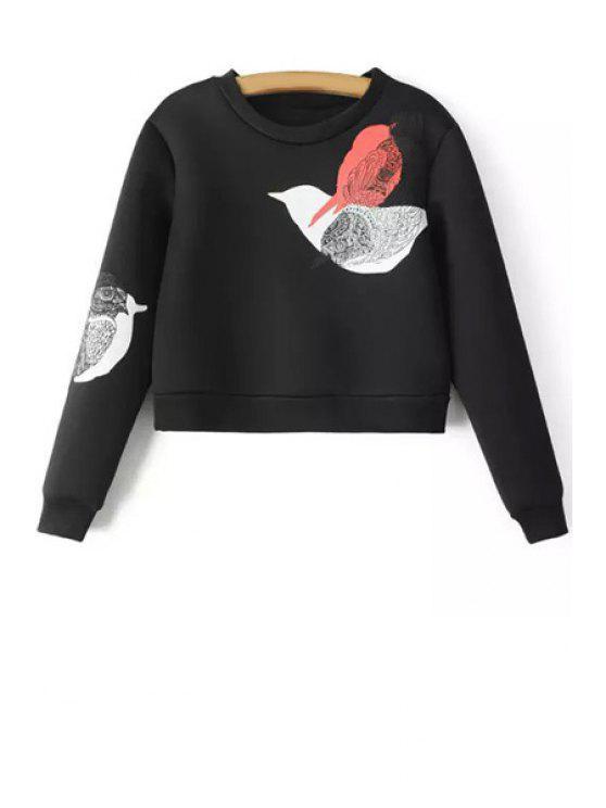 fashion Bird Print Long Sleeves Round Collar Sweatshirt - BLACK XS