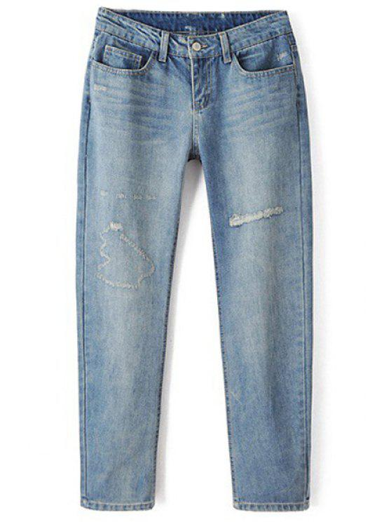 new Bleach Wash Broken Hole Pencil Jeans - LIGHT BLUE S