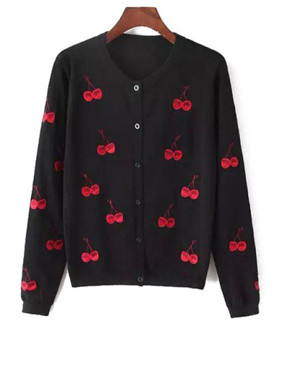 womens Cherry Print Round Collar Long Sleeves Cardigan - BLACK ONE SIZE(FIT SIZE XS TO M)