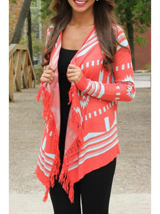 unique Red Tassels Collarless Long Sleeve Cardigan - RED S