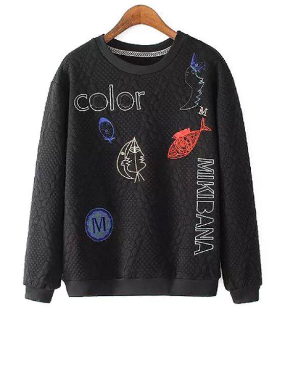 shops Fish Letter Embroidered Sweatshirt - BLACK S