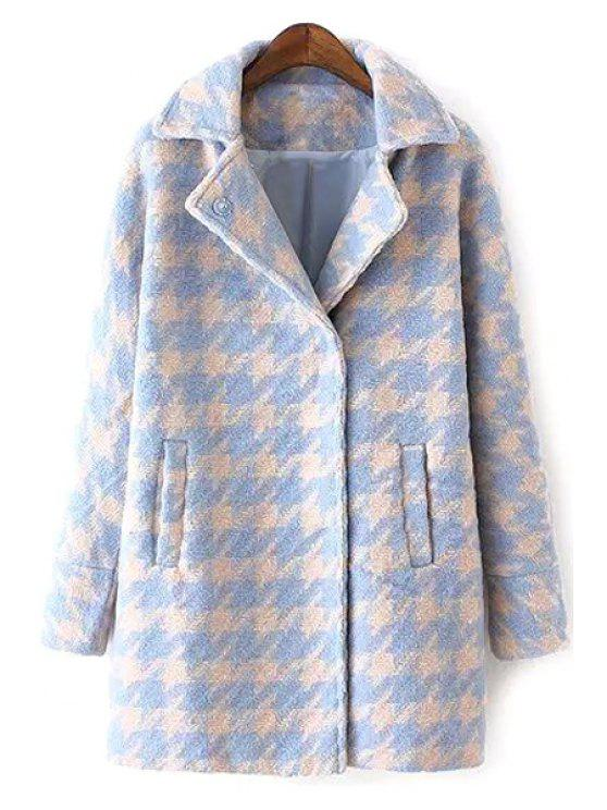 outfits Houndstooth Lapel Collar Long Sleeves Coat - LIGHT BLUE XL