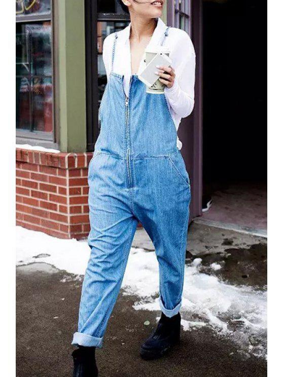 women Bleach Wash Zippered Overalls - LIGHT BLUE L
