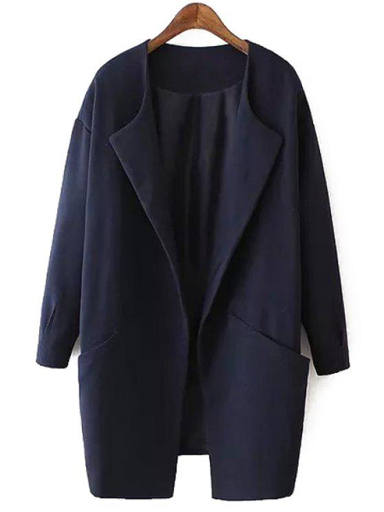 latest Solid Color Collarless Long Sleeves Thicken Coat - CADETBLUE M
