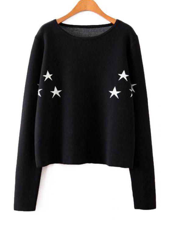 women's Round Neck Star Pattern Sweater - BLACK M