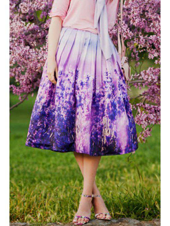 outfits Floral Print High Waisted Purple Skirt - PURPLE S