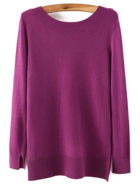 Suéter de manga larga de espalda baja - Púrpura L