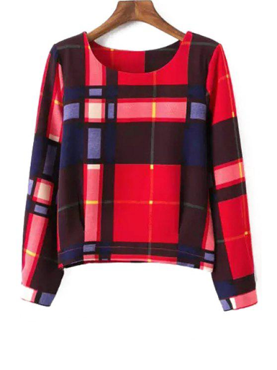 buy Long Sleeve Plaid Blouse - RED S