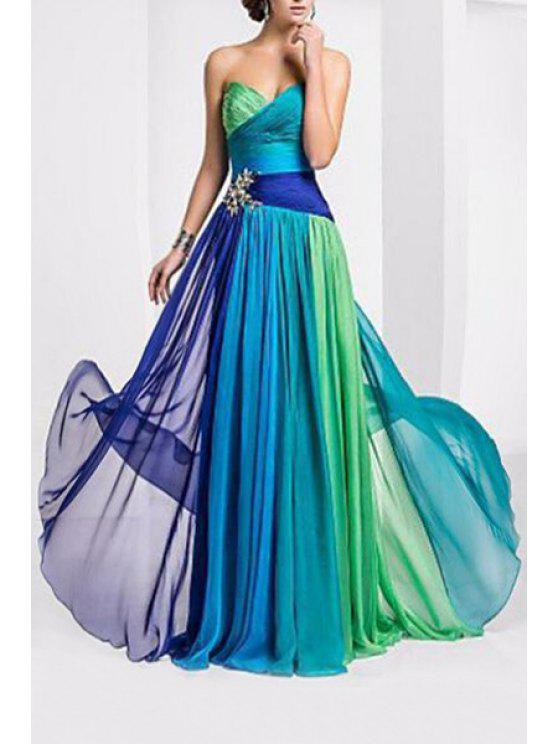 new Ombre Color Block Sweetheart Neck Sleeveless Dress - GREEN S