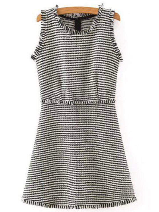 best Striped Sleeveless Scoop Neck Dress - WHITE AND BLACK S