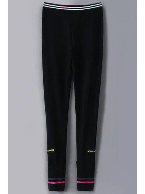 shops Elastic Waist Cotton Blend Pants - BLACK S