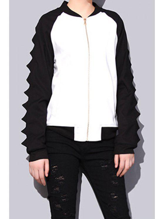 women's Stand Neck Color Block Jacket - WHITE AND BLACK ONE SIZE(FIT SIZE XS TO M)