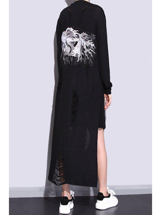 lady Broken Hole High Low Longline Cardigan - BLACK ONE SIZE(FIT SIZE XS TO M)