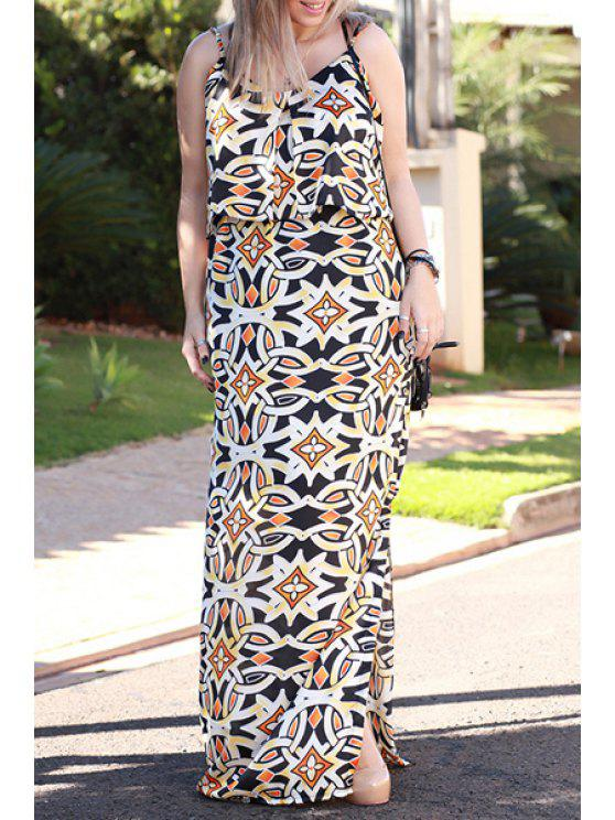 ladies Tribal Print Cami Maxi Dress - AS THE PICTURE S