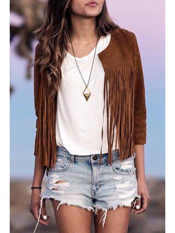 outfit Tassels Round Neck 3/4 Sleeve Jacket - BROWN S