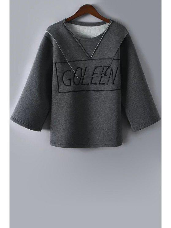 fancy Letter Print Round Collar Solid Color Sweatshirt - GRAY M