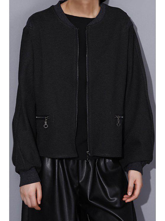 best Batwing Sleeve Zip Pockets Black Jacket - BLACK ONE SIZE(FIT SIZE XS TO M)