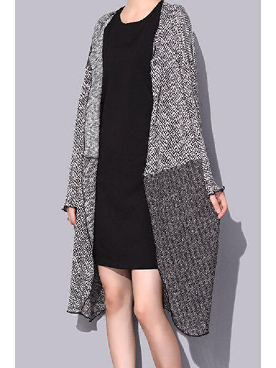 outfit Open Front Hit Color Longline Cardigan - GRAY ONE SIZE(FIT SIZE XS TO M)