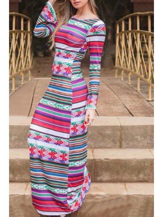 new Stripe Spliced Scoop Neck Long Sleeve Dress - COLORMIX S
