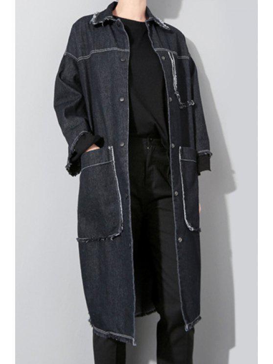 ladies Big Pockets Denim Coat - BLACK ONE SIZE(FIT SIZE XS TO M)