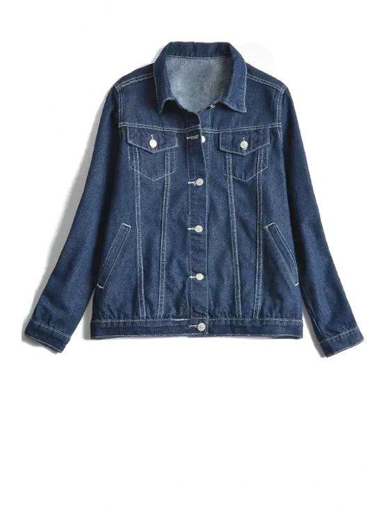 women Turn-Down Collar Solid Color Denim Jacket - BLUE S