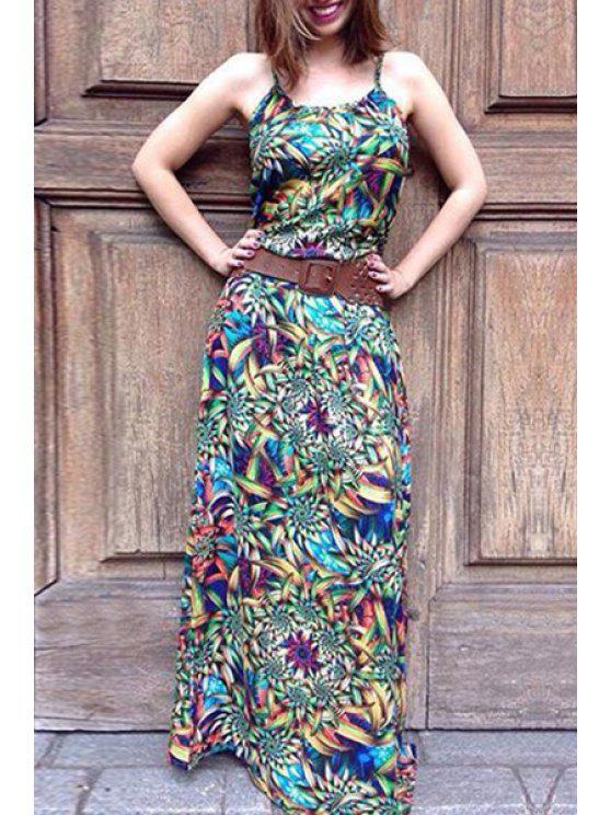 fashion Abstract Print Cami Maxi Dress - COLORMIX S