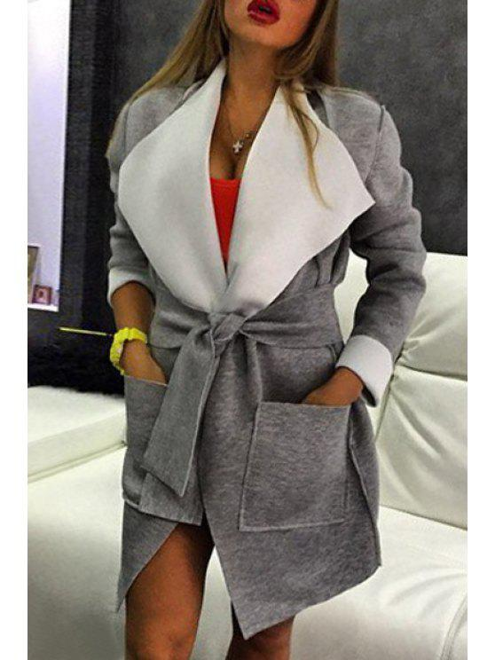 sale Gray Turn Down Collar Long Sleeve Coat - GRAY S