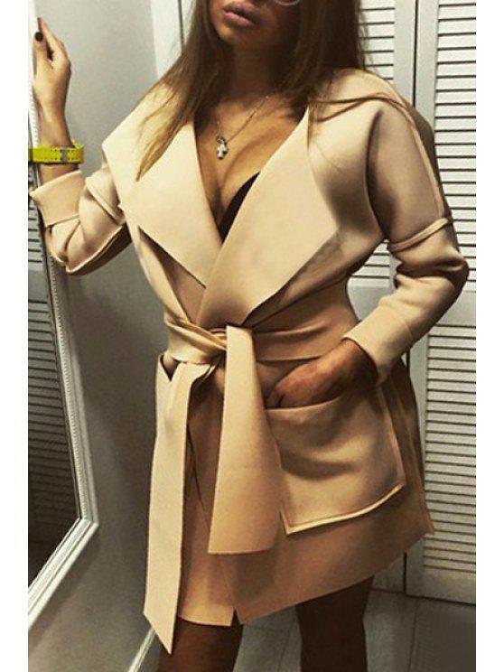 بلون رفض طوق طويلة الأكمام معطف - ضوء كاكي L
