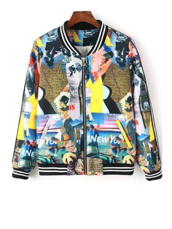 lady Cartoon Print Stand Collar Baseball Jacket - COLORMIX S