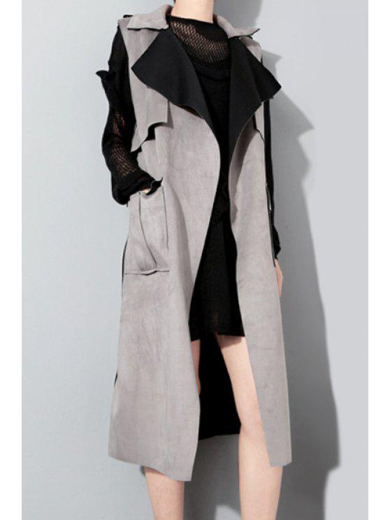 hot Sleeveless Unipue Tailoring Trench Coat - GRAY ONE SIZE(FIT SIZE XS TO M)