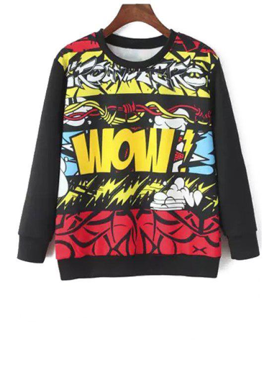 buy Printed Round Collar Long Sleeves Sweatshirt - COLORMIX S