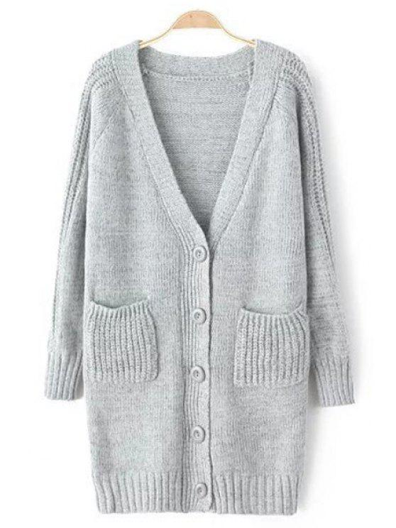buy Solid Color Long Sleeves V-Neck Pocket Cardigan - GRAY ONE SIZE(FIT SIZE XS TO M)
