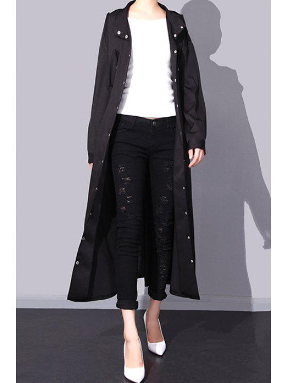 online Elastic Waist Epaulet Embellished Trench Coat - BLACK ONE SIZE(FIT SIZE XS TO M)
