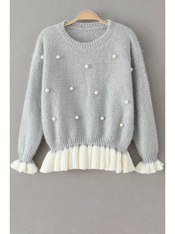 ladies Faux Pearl Round Collar Long Sleeves Pullover Sweater - GRAY ONE SIZE(FIT SIZE XS TO M)