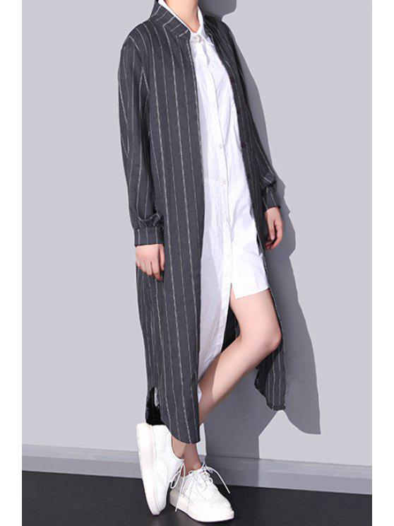 online Stand Neck Verticle Stripes Boyfriend Shirt - GRAY ONE SIZE(FIT SIZE XS TO M)