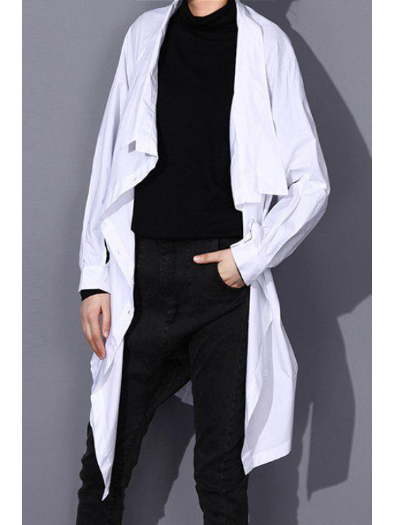 outfits Asymmetric Thin Trench Coat - WHITE ONE SIZE(FIT SIZE XS TO M)