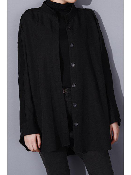 womens Stand Neck Loose-Fitting Spliced Coat - BLACK ONE SIZE(FIT SIZE XS TO M)