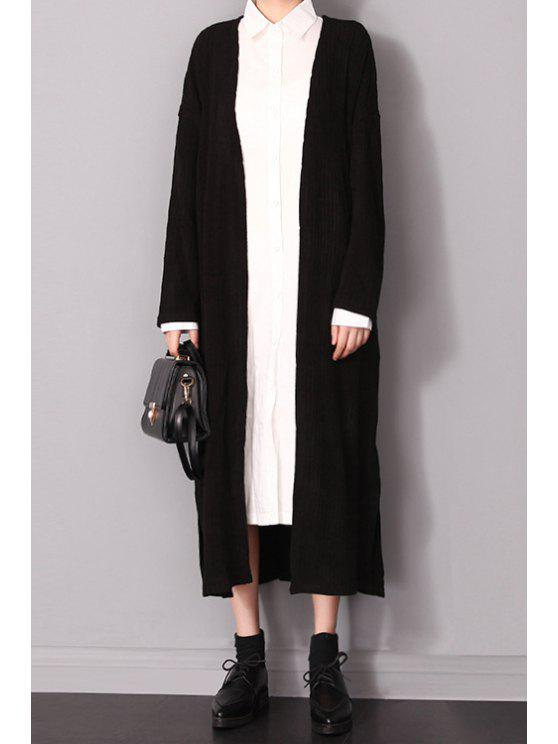 sale Solid Color Pockets Longline Cardigan - BLACK ONE SIZE(FIT SIZE XS TO M)