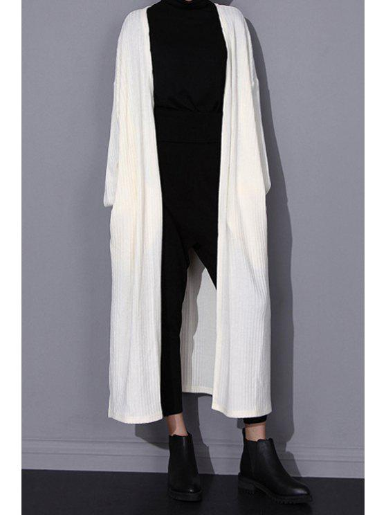 affordable Solid Color Pockets Longline Cardigan - WHITE ONE SIZE(FIT SIZE XS TO M)