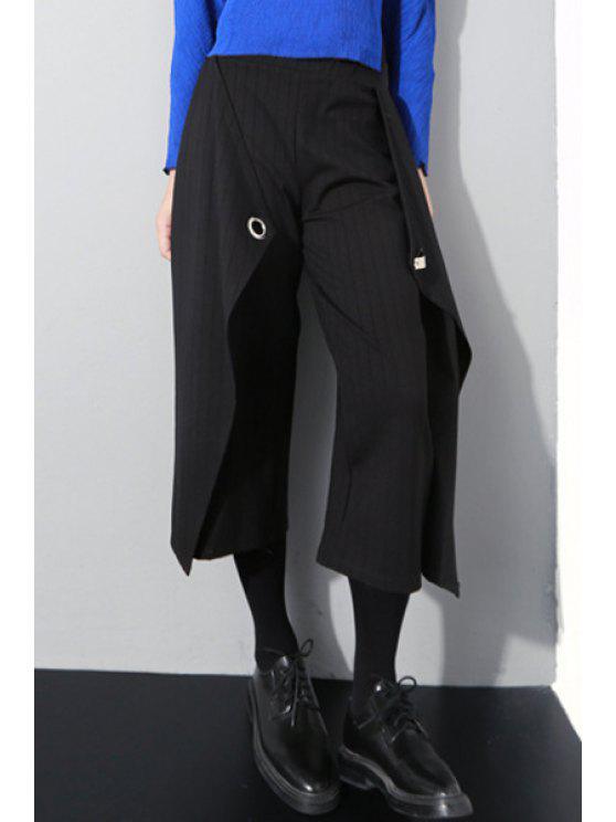 trendy Wide Leg Striped Capri Pants - BLACK ONE SIZE(FIT SIZE XS TO M)