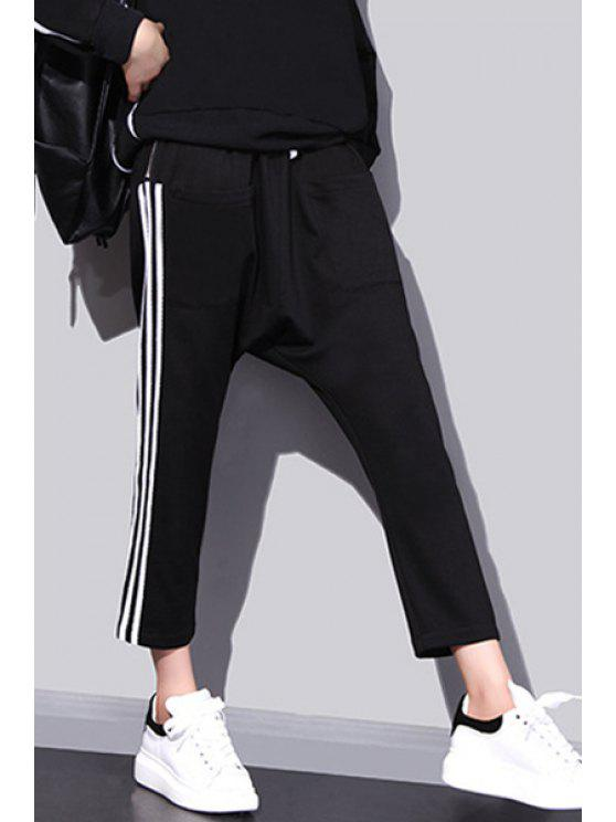 chic White Stripes Harem Pants - BLACK ONE SIZE(FIT SIZE XS TO M)