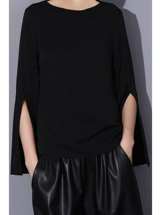 outfits Split Sleeve Black Chiffon Blouse - BLACK ONE SIZE(FIT SIZE XS TO M)