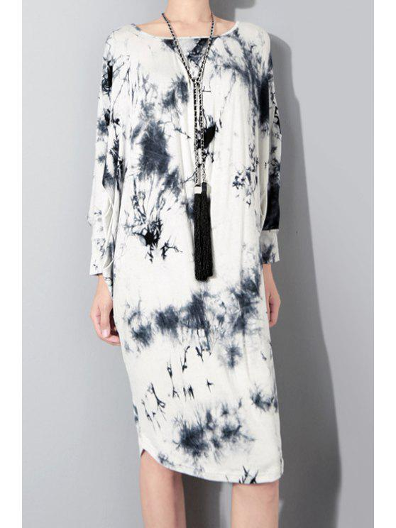 affordable Long Sleeve Printed Midi Dress - WHITE AND BLACK ONE SIZE(FIT SIZE XS TO M)