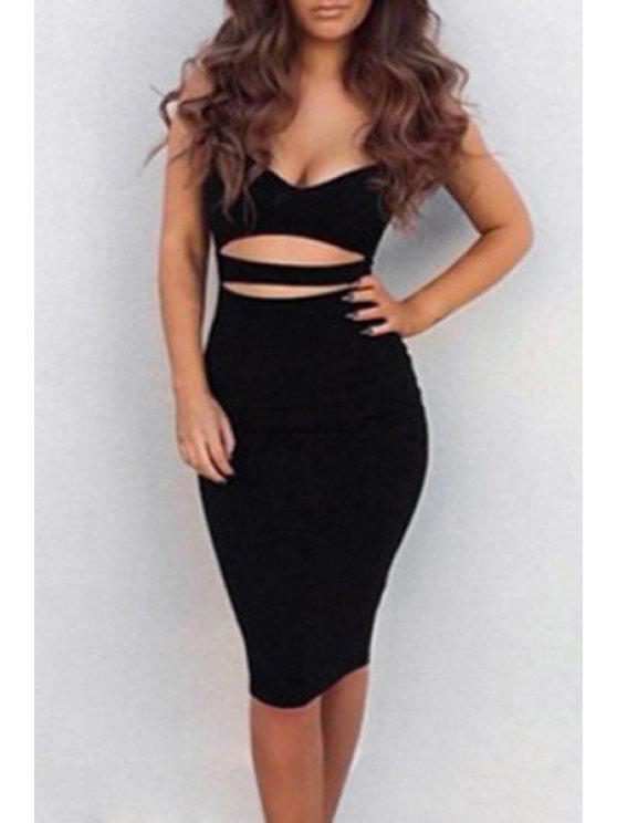 shops Spaghetti Strap Bare Midriff Club Dress - BLACK S