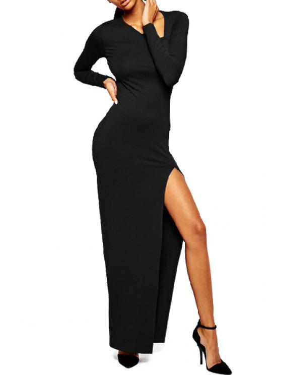 affordable Solid Color High Slit Maxi Dress - BLACK M