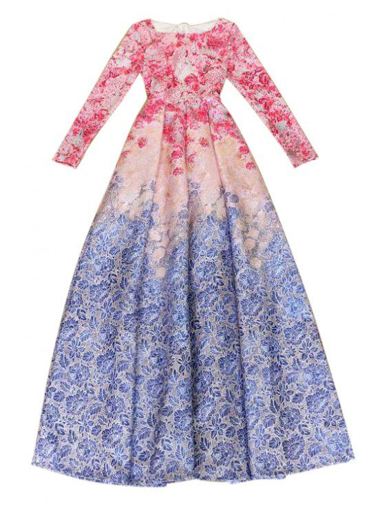 outfit Long Sleeve Floarl Print Maxi Dress - BLUE AND RED L