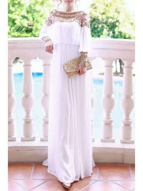 women Beaded Chiffon Long Sleeve Maxi Dress - WHITE ONE SIZE(FIT SIZE XS TO M)