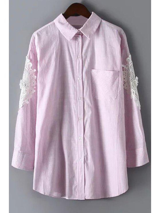 women Lacework Splicing Flat Collar Long Sleeves Shirt - LIGHT PINK M
