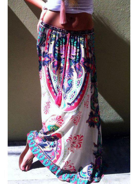 fashion Printed Drawstring Design Long Skirt - WHITE S